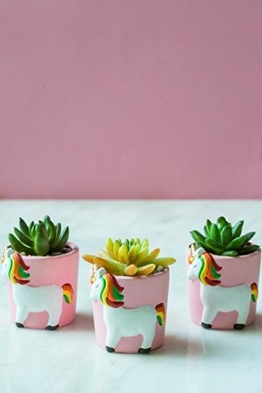 Arma House 3'lü Unicorn Sukulent Vazo ( Yapay Çiçek ) Renkli